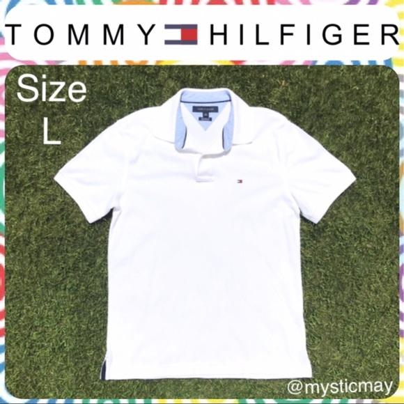 d73168cfe Tommy Hilfiger Shirts | Mens Bright White Polo Shirt Sz L | Poshmark